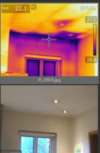 Thermal image - kitchen - external wall and ceiling